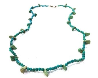 Vintage Turquoise Necklace / Handmade Strand of Raw Turquoise & Howlite Beads / Sterling Silver Clasp