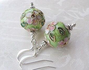 Lime Green Earrings Spring Green Earrings Cloisonne Earrings Geisha Earrings Asian Earrings Asian Jewelry Gifts for Women Cloisonne Beads