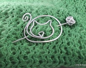 Kitty Cat Pin for Shawls, Sweaters, Scarves, Jackets, Wraps, Cat Pin, Shawl Pin, Knitted Shawl Pin, SP27