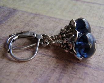 Montana Blue Earrings Antique Silver Lever Back Ear Wire 9 x 6 mm Czech Glass Dangle