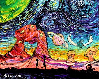 Rick and Morty Starry Night Art - CANVAS print van Gogh Never Saw Another Dimension by Aja 8x8, 10x10, 12x12, 16x16, 20x20, 24x24, 30x30