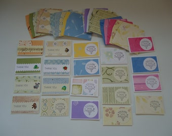 20 mixed mini cards with envelopes, mini notecards, shop thank you cards, mixed lot cards, assorted shop notecards, tiny notecards, lot P
