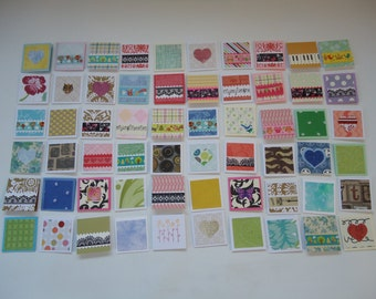 60 little mini notecards, lunch box love notes, mini shop notecards, tiny mixed lot notecards, 2 x 2 mini notecards, blank notecards, lot J1