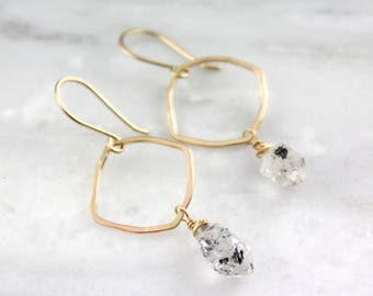 Forged Gold and Tourmalinated Herkimer Diamond Earrings