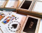 Vintage Tiffany Vintage Playing Cards Black White Monogrammed F Set of 2 Decks Felt Box
