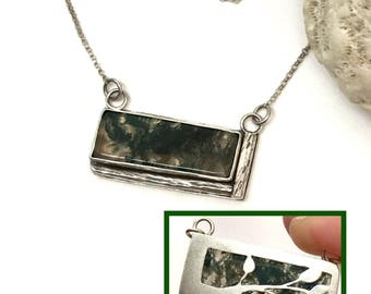 Reversible Moss Agate Necklace Leaf Pattern, Green Stone Artisan Silversmith Sterling Silver Bar Necklace,  Pierced and Hand Wrought Design