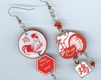 Year of the Rooster earrings -  Chinese New Year 2017 - Asian inspired asymmetrical mismatched earrings