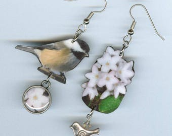 State Bird Flower Earrings - Massachusetts chickadee Mayflower may flower - Asymmetrical mismatched jewelry - botany bird watcher