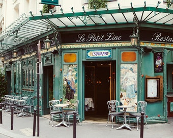 Le Petit Zinc - Paris Photography, Cafe, St Germain Des Pres, Paris Print, Bistro Chairs, Art Nouveau, Green, Restaurant, 8x10