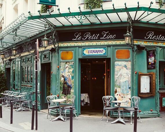Le Petit Zinc - Paris Photography, Cafe, St Germain Des Pres, Paris Print, Bistro Chairs, Art Nouveau, Green, Restaurant, 8x10