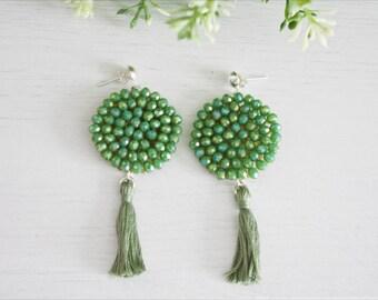 Green tassel earrings, Boho chic hand made embroided crystal beads Dalia earrings - ONE OF A KIND