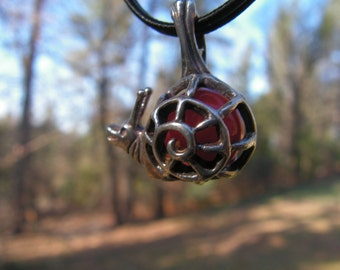 Snail Pendant Sterling Silver With Carnelian