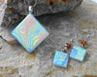 Blue Dichroic Pendant and Earring Set, Silk and Satin Glass Necklace, Diagonal Glass Pendant, Fused Glass Necklace and Earring Set