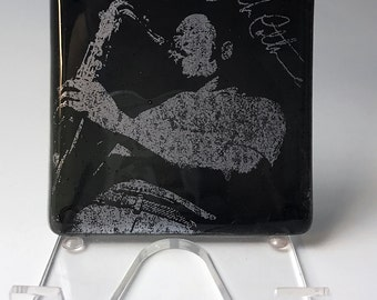 John Coltrane Jazz Musician Fused Glass Coaster, Music, Trane, Saxophone