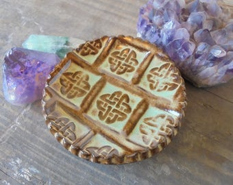 Celtic Knot Mini Plate - Tea Bag plate - Wedding Favor - candle holder - teaspoon Rest