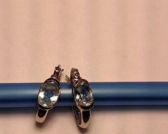 Flash Sale 1980s Bold Vintage 925 Sterling Silver Blue Topaz Stone Earrings Hoops Pierced Retro Boho