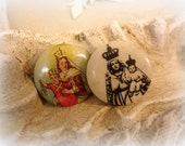 small vintage celluloid religious pin backs 2 virgin of mt carmel religious pins in color and black and white small size