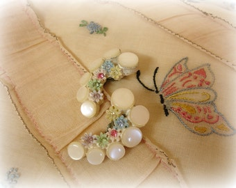 vintage celluloid earrings mid century off white graduated cabs tiny celluloid flowers matching rhinestones climber earrings