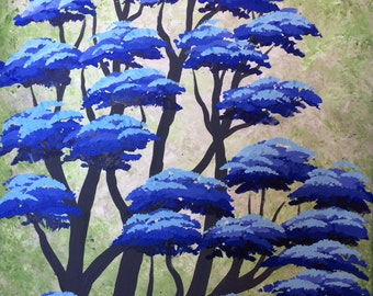 Tree painting, Winter frosty Forest, Blue trees, Original acrylic painting