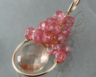 Oregon Sunstone & Pink Quartz Wire Wrapped Pendant