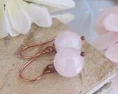 Rose Quartz Sphere Copper Dangle Earring SRA  Bastet's Beads- Rose Globes