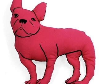 french bulldog shaped large decorative pillow red fabric hand drawn plush animal softie