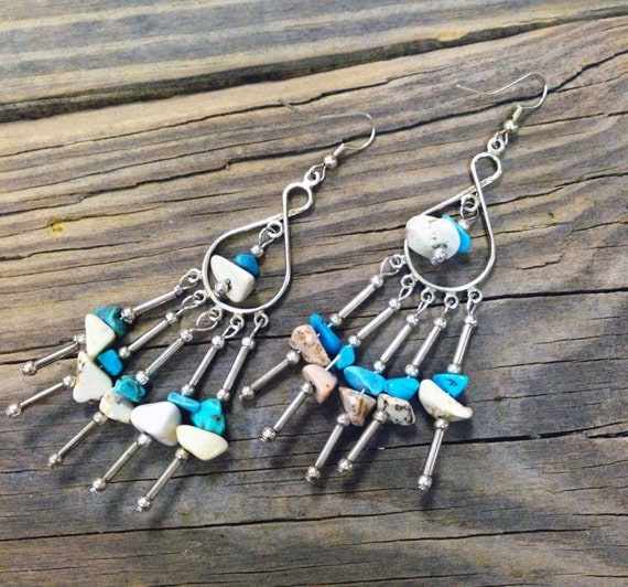 Chandelier earrings with howlite stones Boho jewelry