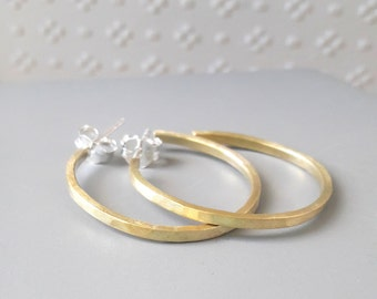 gold hoop earrings sterling silver  oval hammered brass hoops matte finish gold color contemporary jewelry mid century inspired