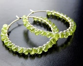 Peridot Hoop Earrings, Green Stone Earrings, Silver Wire Wrapped Hoops, Beaded Lime Jewelry, August Birthstone