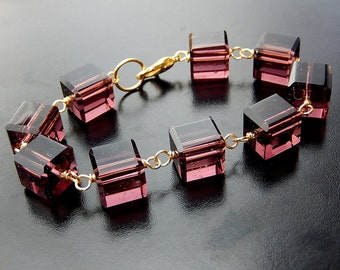 Purple Cube Bracelet, Plum and Gold Chunky Geometric Jewelry