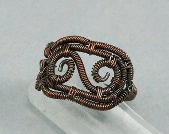 SALE - Copper Scroll Ring - Size 6 - CLEARANCE