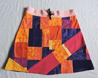 Crazy fire tones random patchwork a-line mini skirt * size 5/6 * OOAK twilightdance