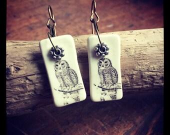 Porcelain Owl Earrings
