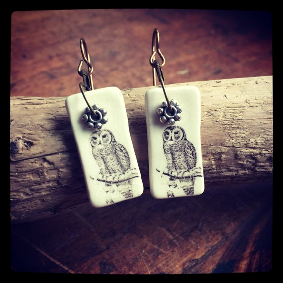 Porcelain Owl Earrings