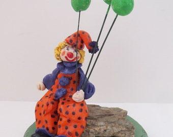Figurine Clown Balloons Handmade Cold Porcelain Cute,Unique,Durable