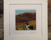 Sheep Dog Needle Felted Landscape Picture