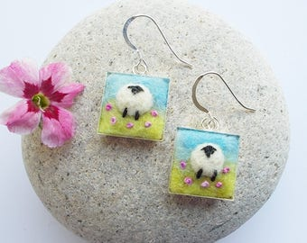 Sheep Earrings Felt