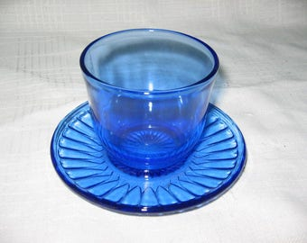 MacBeth Evans Petalware cobalt blue mustard dish