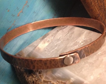 Hammered Copper Bangle Bracelet