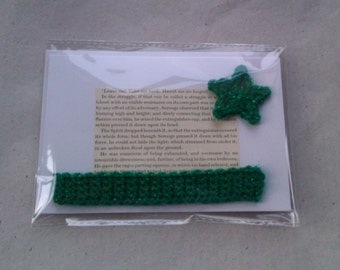 A Christmas Carol Literary Greetings Card with detachable Bookmark - sparkly green