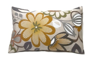 Decorative Lumbar Pillow Cover Funky Floral Design Gray White Natural Mustard Toss Throw Accent 12x18 inch  x