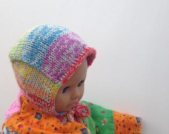 SALE!  Newborn 0-3 Months Hand Knit Wool and Alpaca Pilot Cap / Hat
