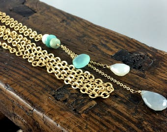 Gold Long Layering Chain and Gemstone Necklace with White Sapphire, Amazonite, Aqua Chalcedony, Pearl Chalcedony aand Grey Moonstone