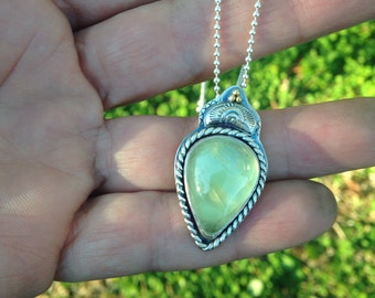 Green Prehnite in Sterling with 18k Gold Accents