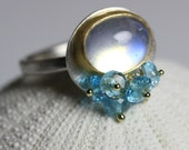Rainbow Moonstone Ring with Swiss Blue Topaz Cluster. 22k Gold, 18k Gold and Silver. Size 6. June Birthstone.