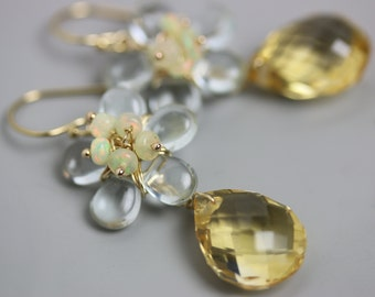 Special Offer - Citrine Faceted Dangle Earrings with Aquamarine Flower and Opal Clusters. November Birthstone.