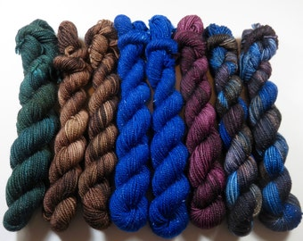 Destash Lot of 8 Mini Skeins at 40% OFF -- Hand Dyed SW Merino/Nylon 2-Ply Sparkle (20 Grams/87 Yards each) -- Doctor Who Assortment