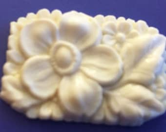 vintage glass cabochon Large Czech white rose detailed carved stone 1930s antique almost 1.5 inches long (1)
