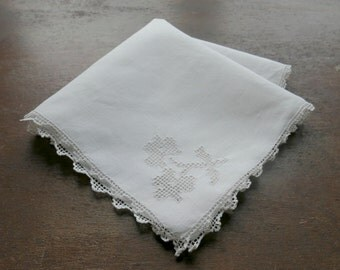 Linen Handkerchief with Filet Crochet