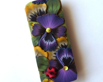 Pansies with a Ladybug Slide Top Tin, Sewing Needle Magnetic Pin Box ,Polymer Clay Covered Tin, Magnetic Needle Case